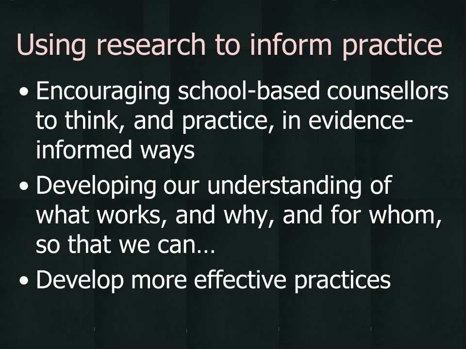 Using research to inform practice