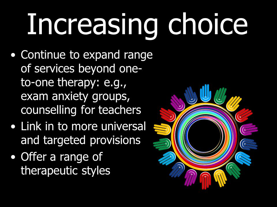 Increasing choice Continue to expand range of services beyond one-to-one therapy: e.g., exam anxiety groups, counselling for teachers.