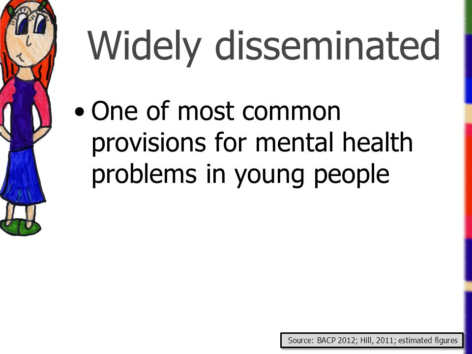 Widely disseminated One of most common provisions for mental health problems in young people.