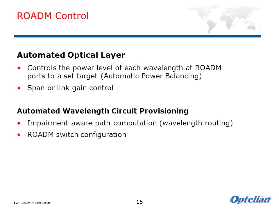 ROADM Control Automated Optical Layer