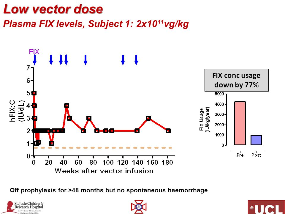Low vector dose Plasma FIX levels, Subject 1: 2x1011vg/kg