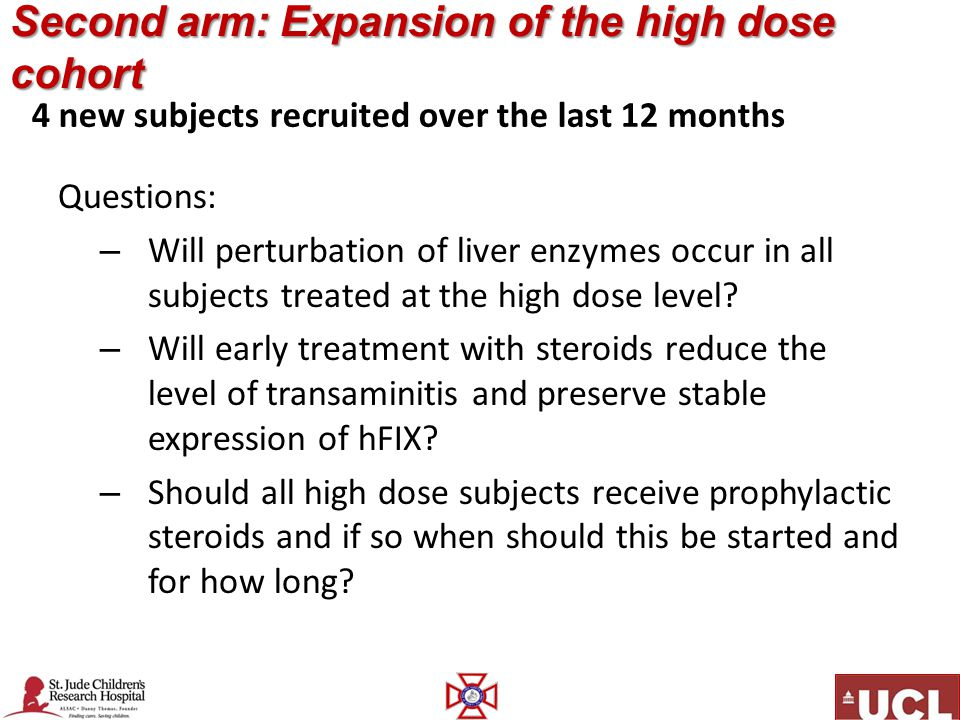 Second arm: Expansion of the high dose cohort