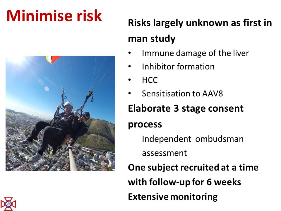 Minimise risk Risks largely unknown as first in man study
