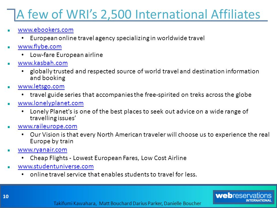 A few of WRI's 2,500 International Affiliates