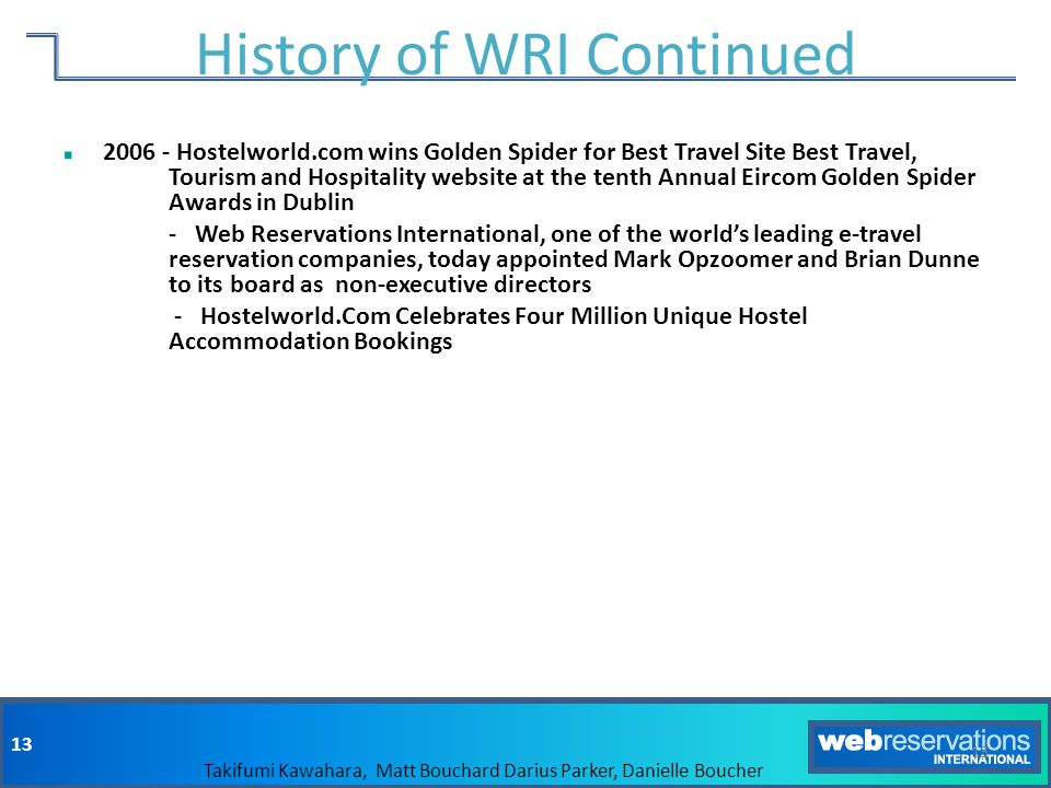 History of WRI Continued