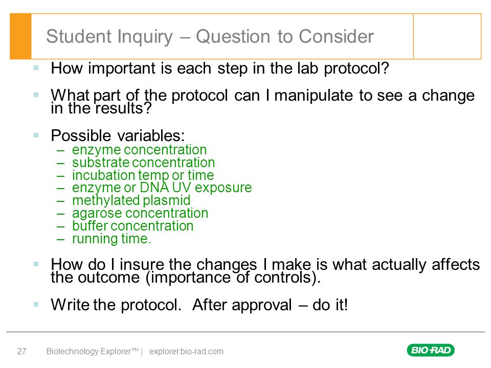 Student Inquiry – Question to Consider