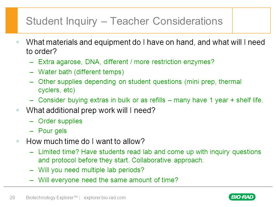 Student Inquiry – Teacher Considerations