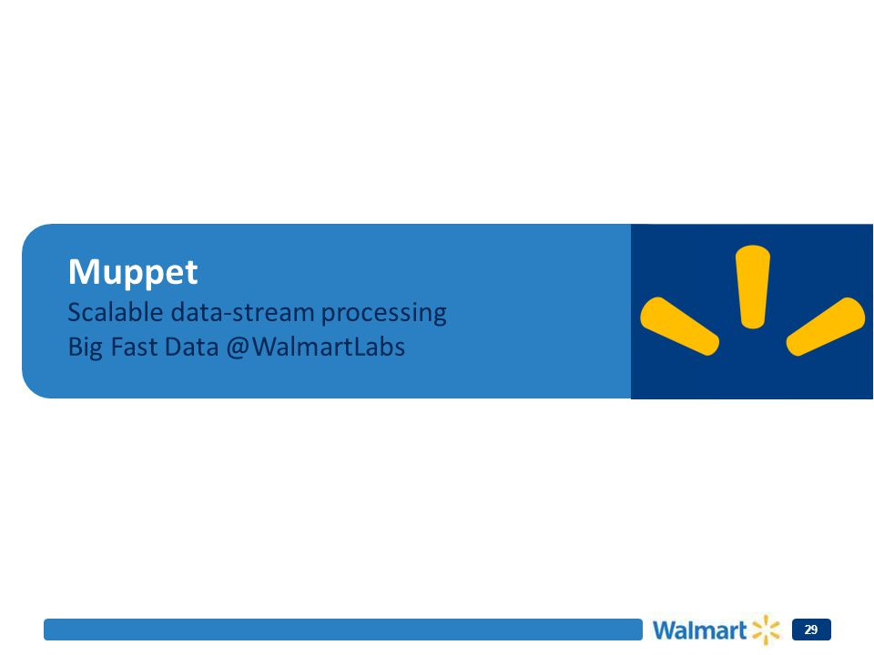 Muppet Scalable data-stream processing Big Fast Data @WalmartLabs