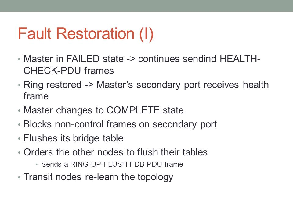 Fault Restoration (I) Master in FAILED state -> continues sendind HEALTH-CHECK-PDU frames.