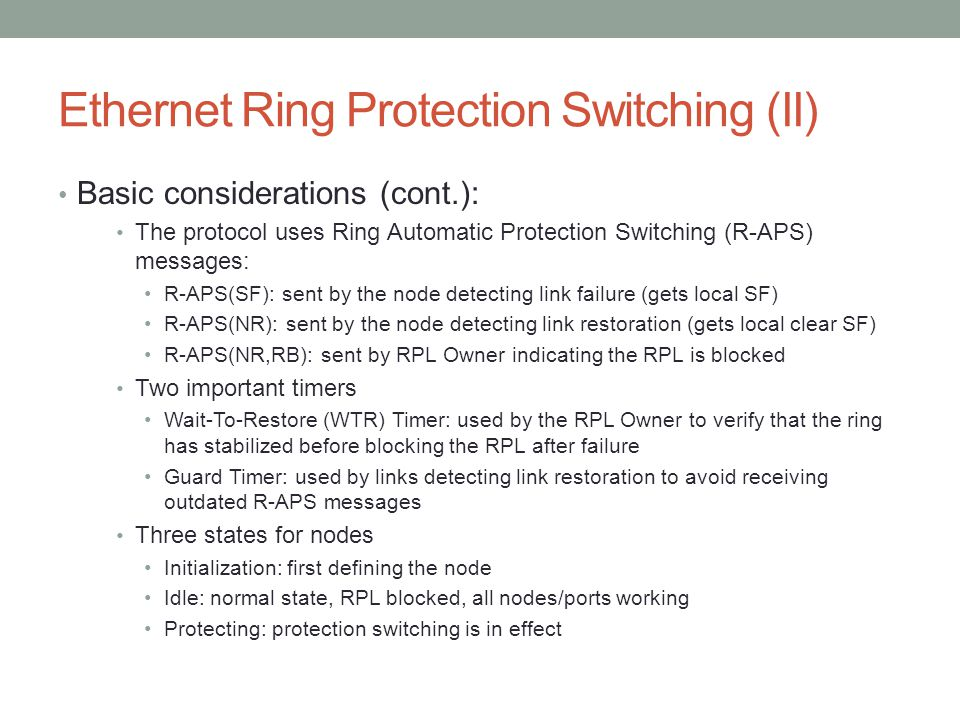 Ethernet Ring Protection Switching (II)