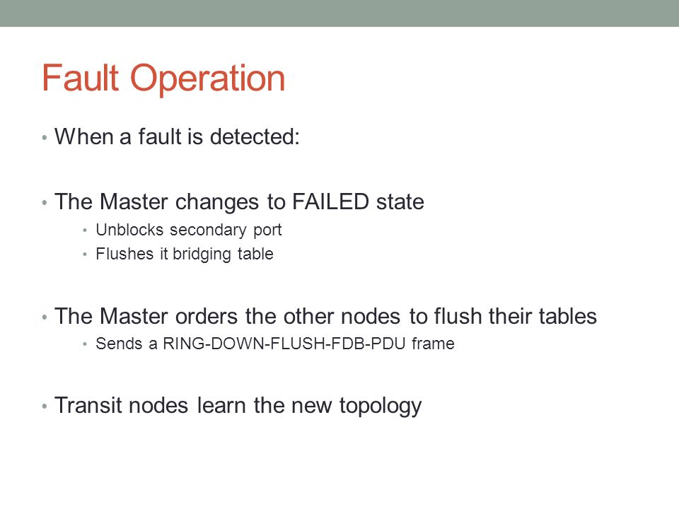 Fault Operation When a fault is detected: