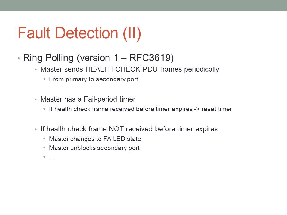 Fault Detection (II) Ring Polling (version 1 – RFC3619)