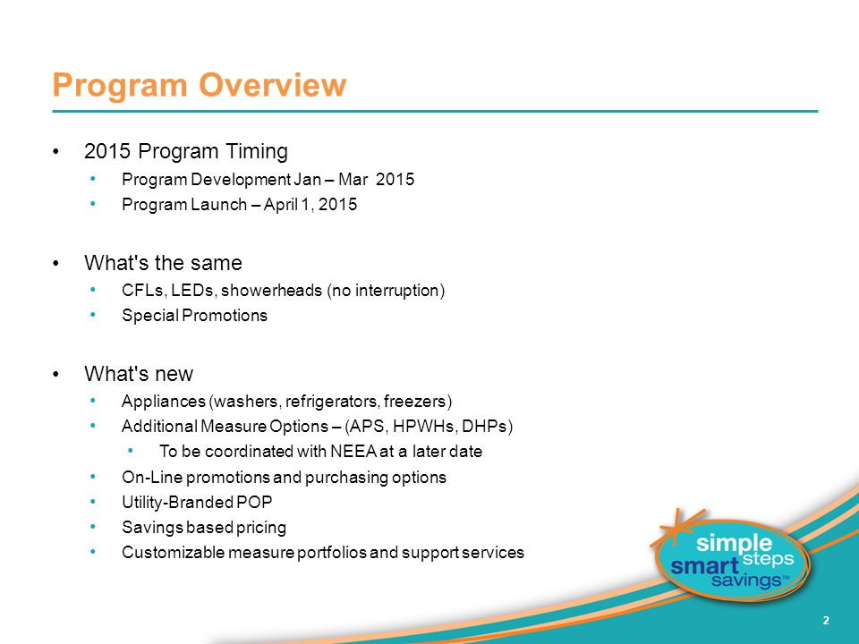 Program Overview 2015 Program Timing What s the same What s new