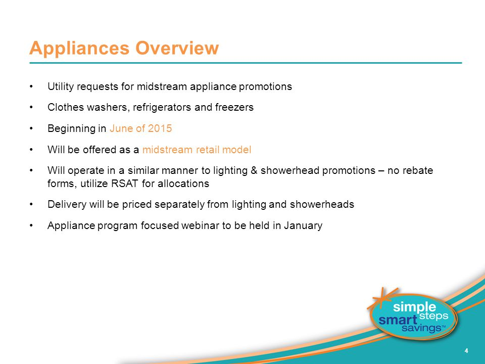 Appliances Overview Utility requests for midstream appliance promotions. Clothes washers, refrigerators and freezers.
