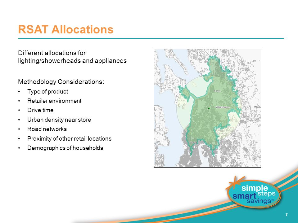 RSAT Allocations Different allocations for lighting/showerheads and appliances. Methodology Considerations: