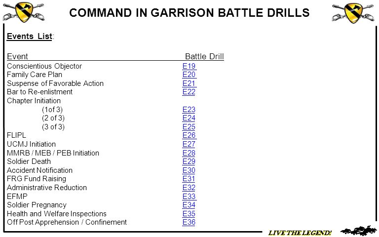 Events List: Event Battle Drill Conscientious Objector E19