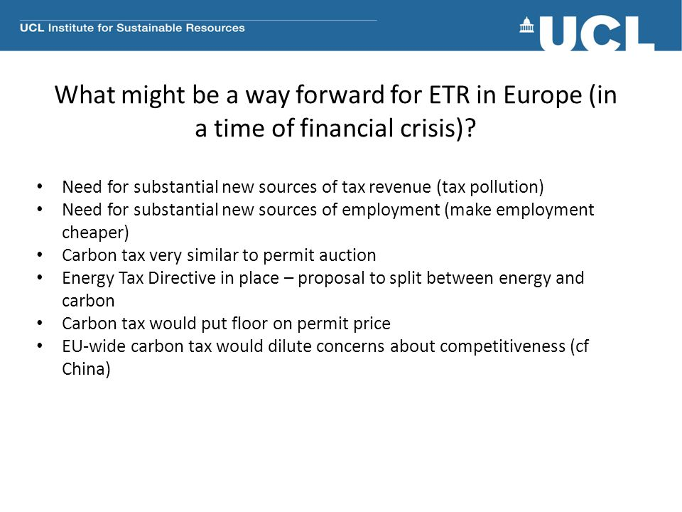 What might be a way forward for ETR in Europe (in a time of financial crisis)