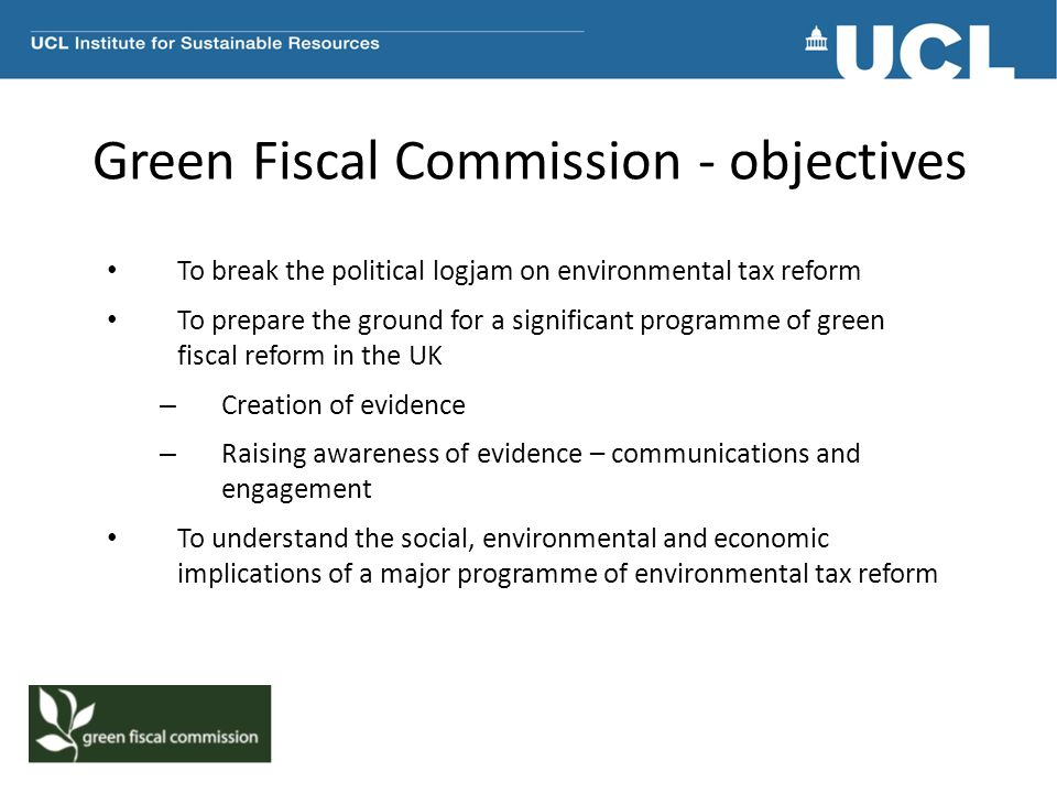 Green Fiscal Commission - objectives