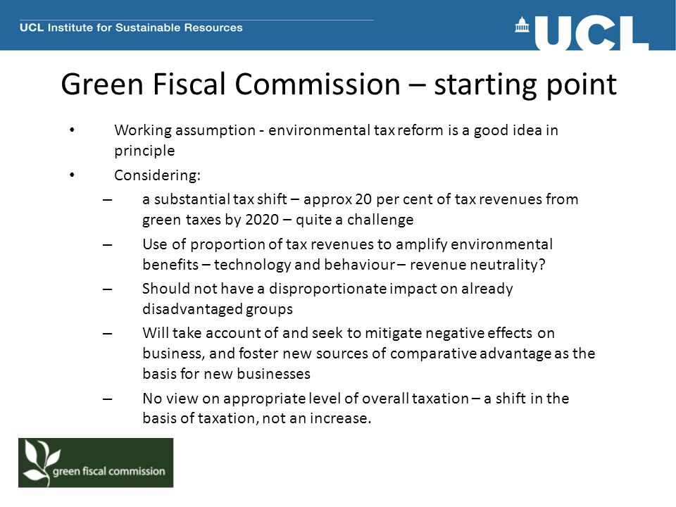 Green Fiscal Commission – starting point