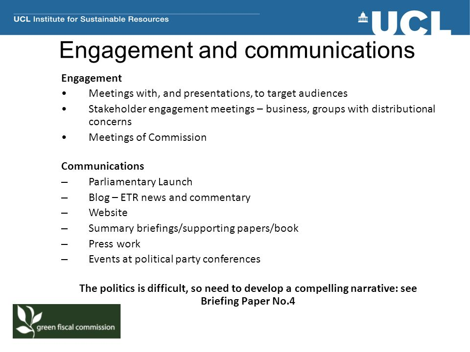 Engagement and communications