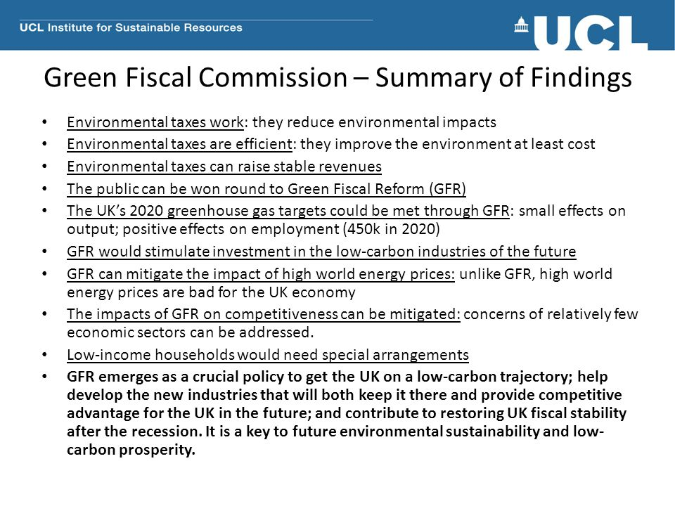 Green Fiscal Commission – Summary of Findings