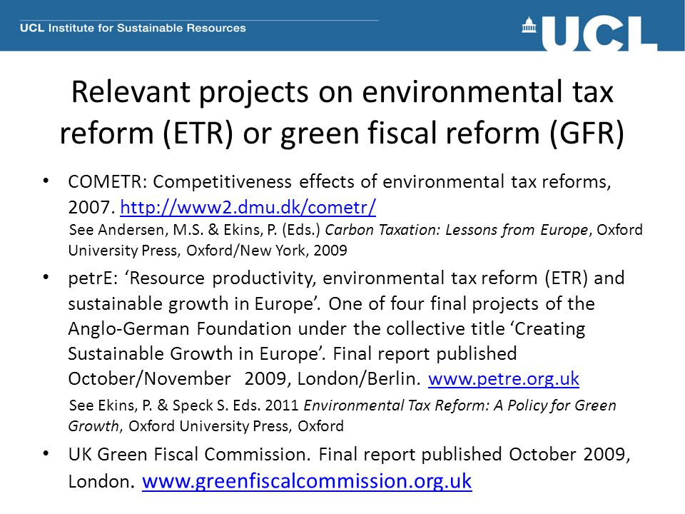 Relevant projects on environmental tax reform (ETR) or green fiscal reform (GFR)
