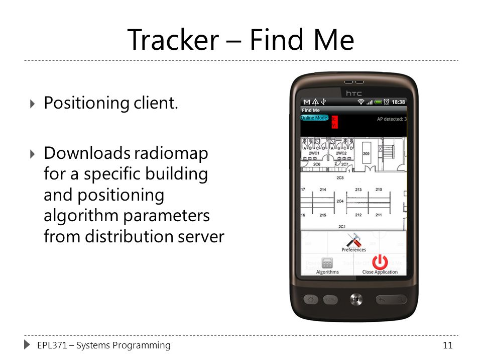 Tracker – Find Me Positioning client.
