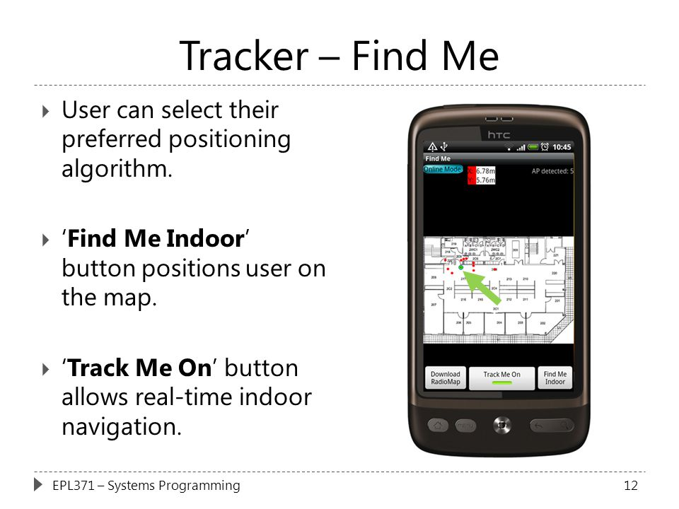 Tracker – Find Me User can select their preferred positioning algorithm. 'Find Me Indoor' button positions user on the map.