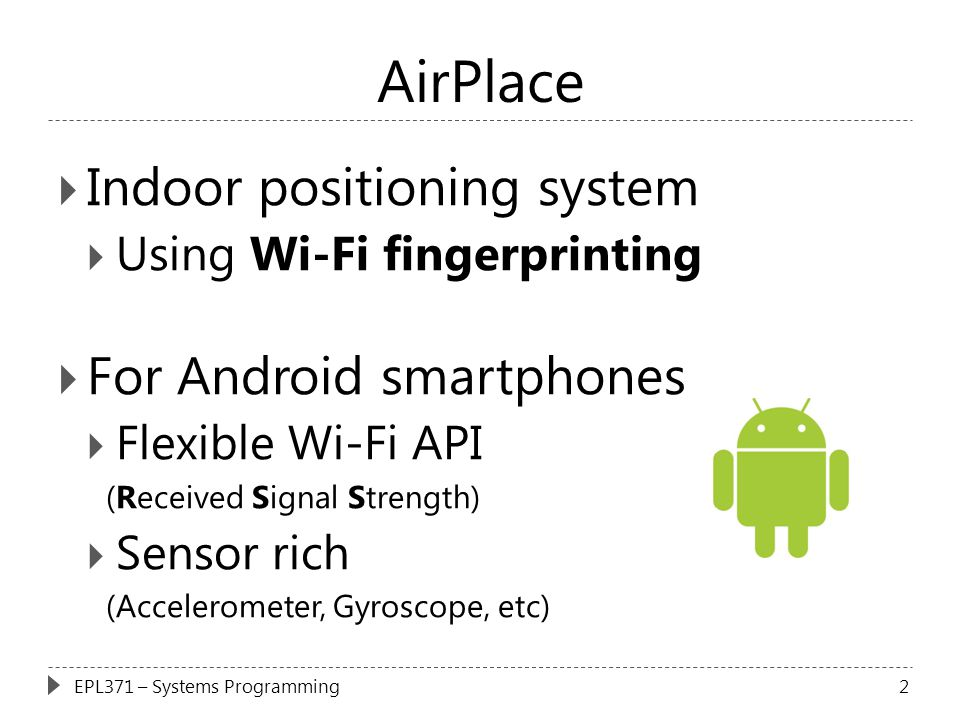 AirPlace Indoor positioning system For Android smartphones