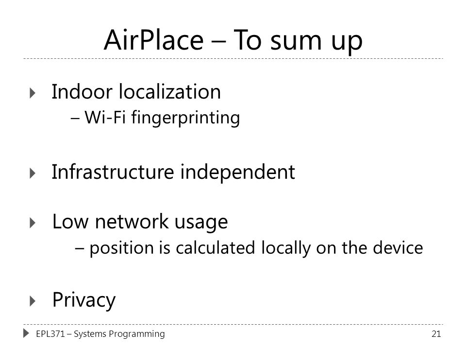 AirPlace – To sum up Indoor localization Infrastructure independent