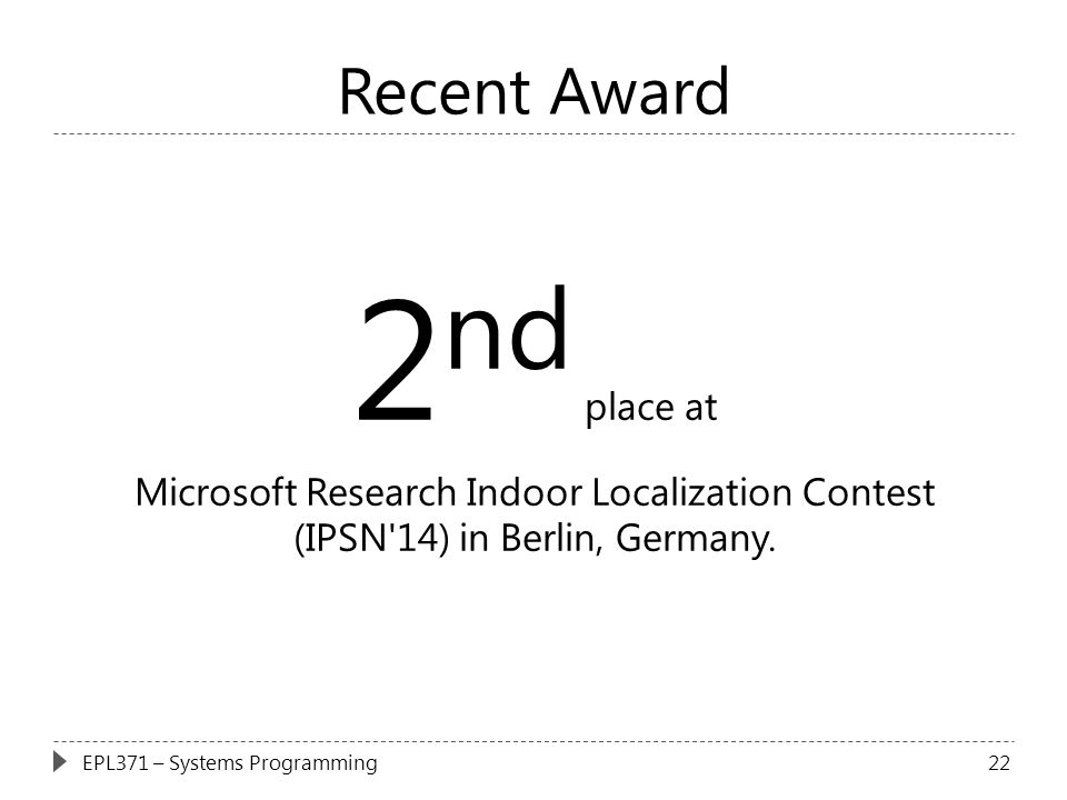 2nd place at Recent Award