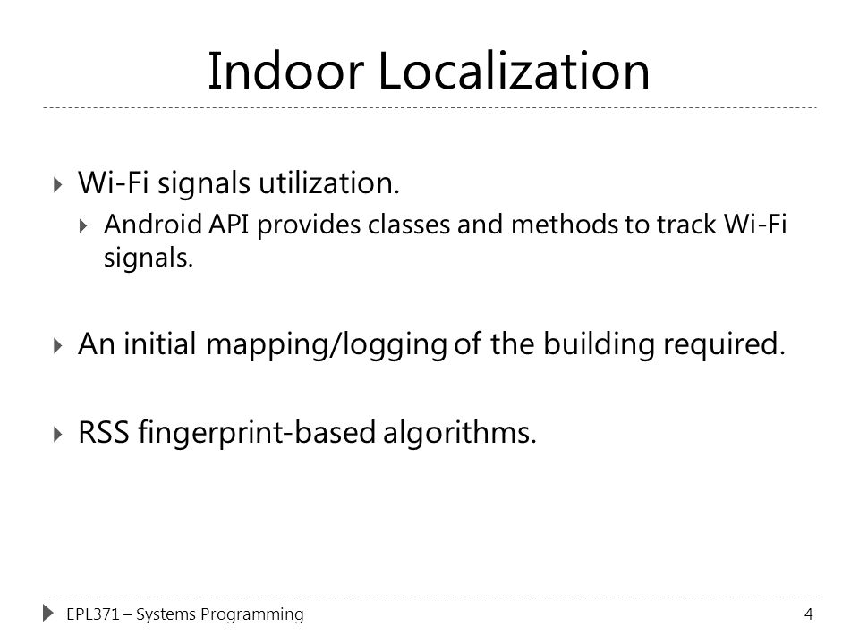 Indoor Localization Wi-Fi signals utilization.