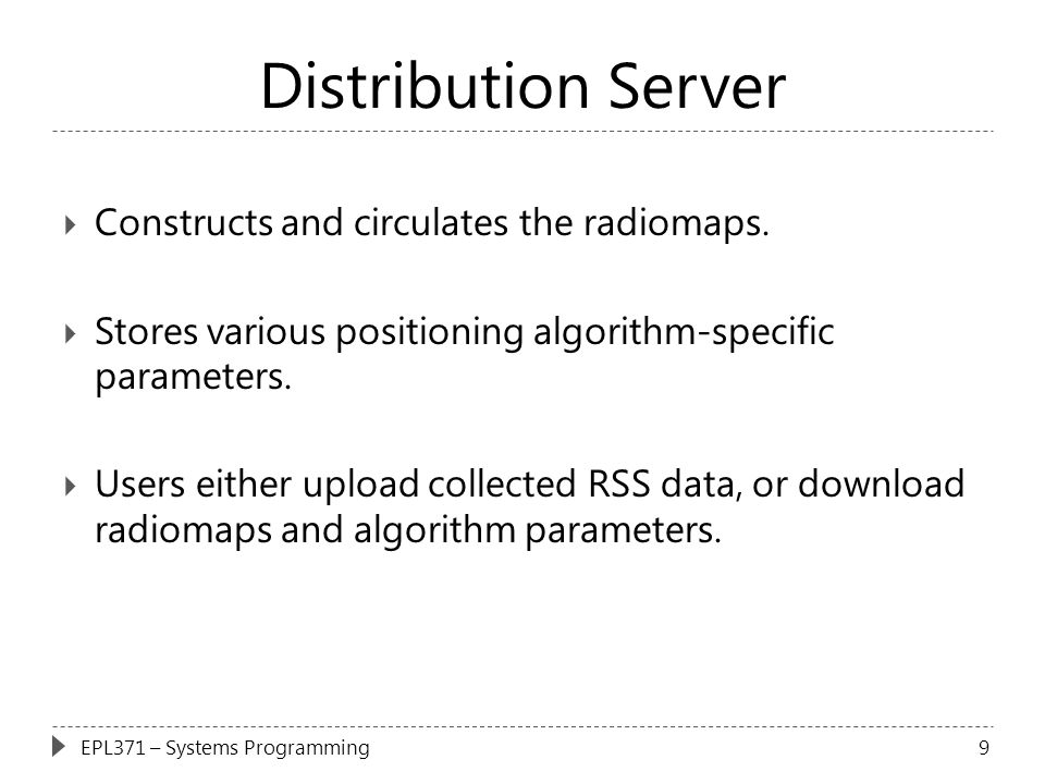 Distribution Server Constructs and circulates the radiomaps.