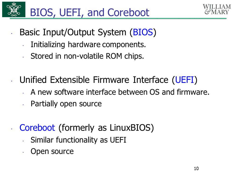 BIOS, UEFI, and Coreboot Basic Input/Output System (BIOS)