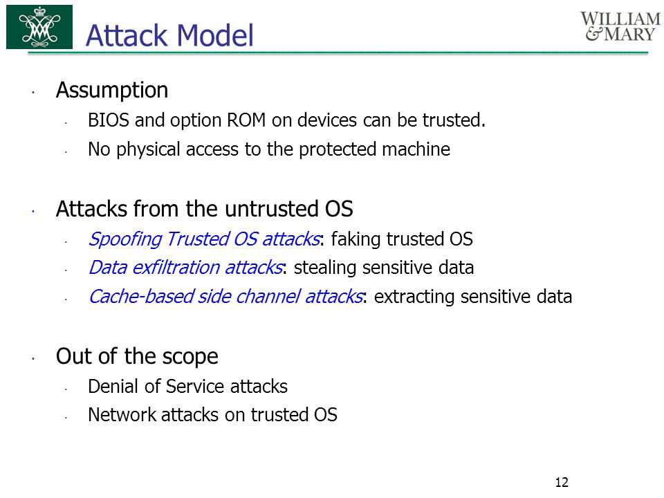 Attack Model Assumption Attacks from the untrusted OS Out of the scope