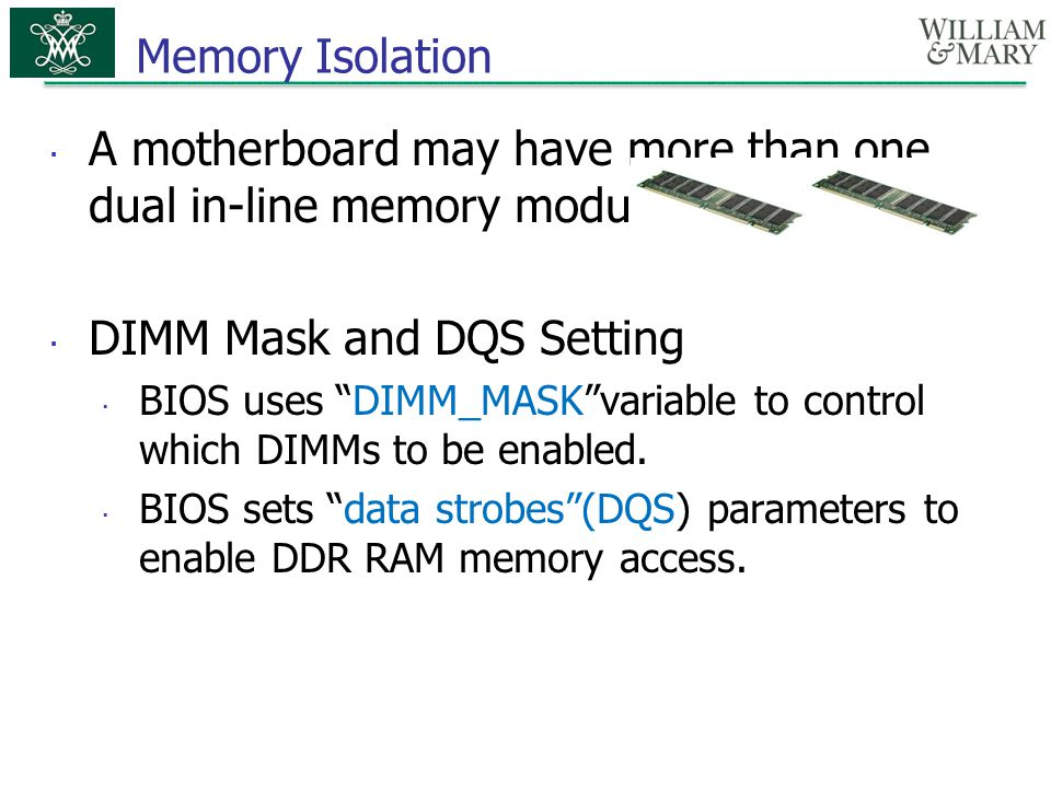 DIMM Mask and DQS Setting