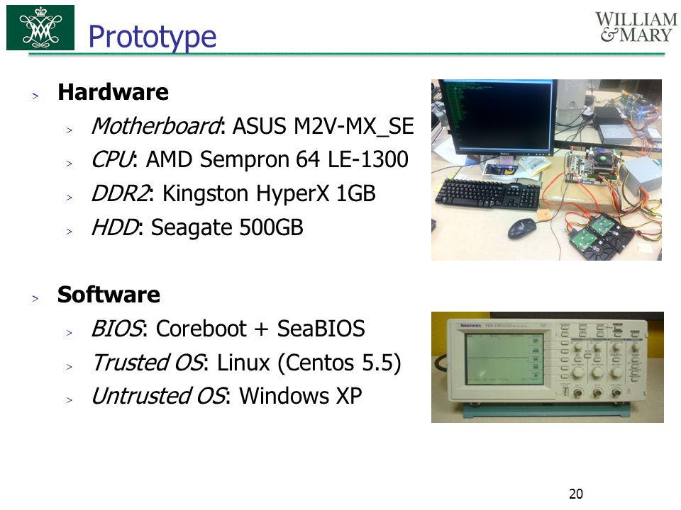 Prototype Hardware Motherboard: ASUS M2V-MX_SE