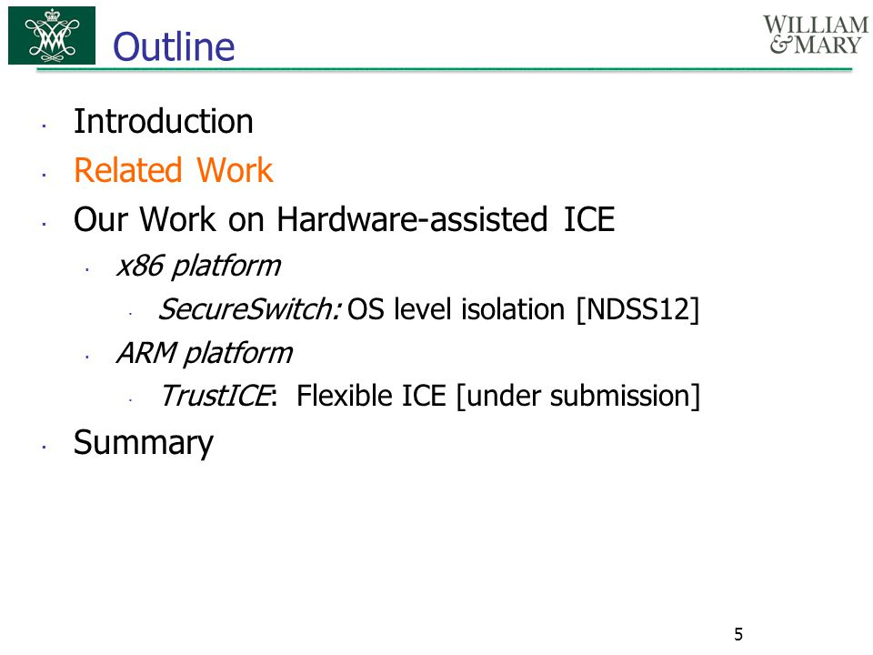 Outline Introduction Related Work Our Work on Hardware-assisted ICE