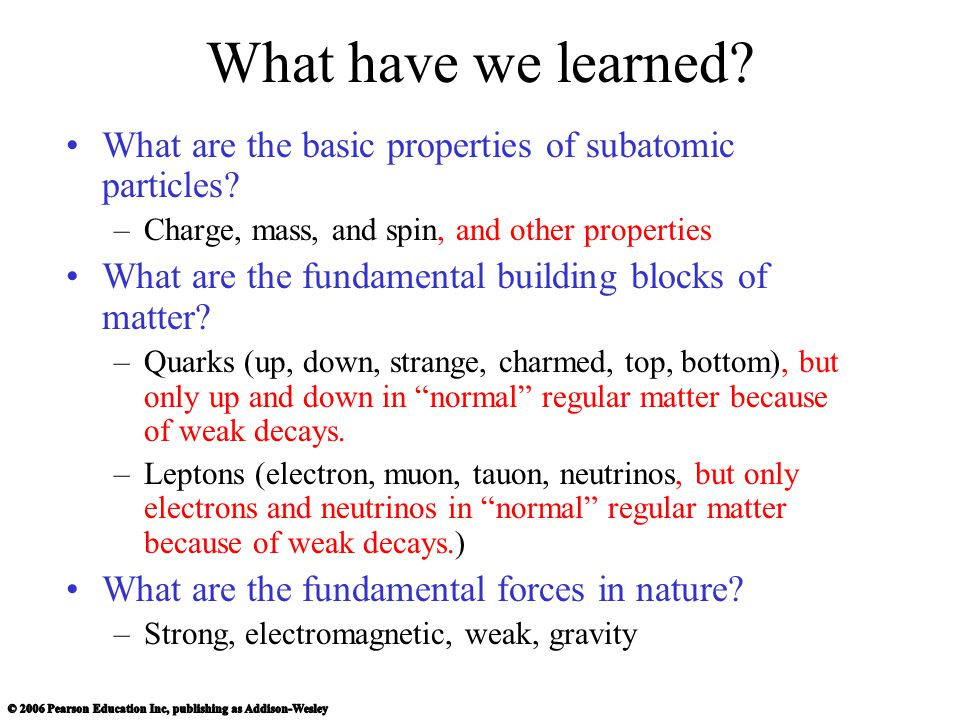 What have we learned What are the basic properties of subatomic particles Charge, mass, and spin, and other properties.
