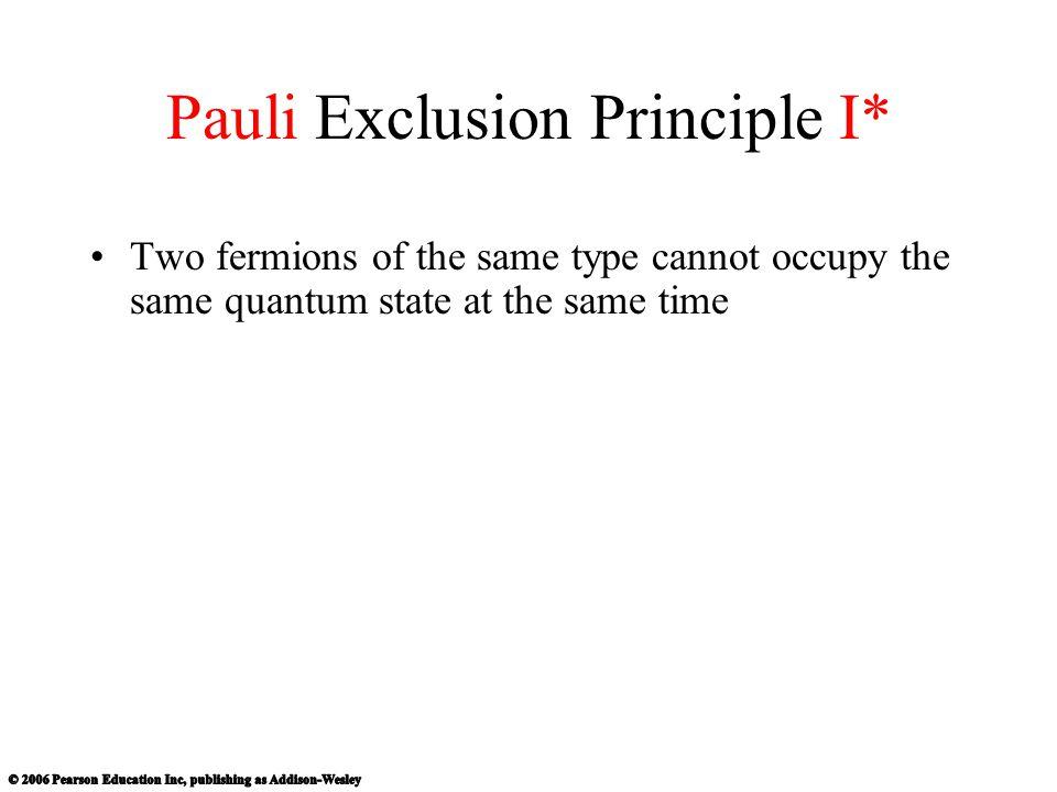 Pauli Exclusion Principle I*