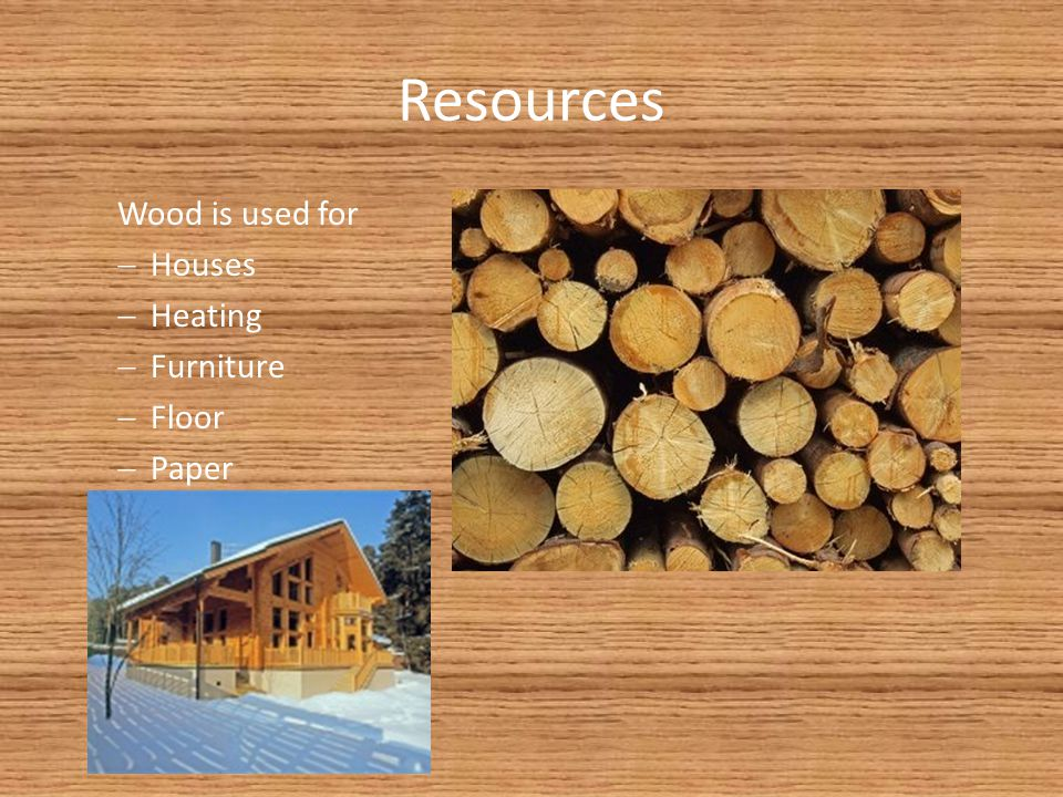 Resources Wood is used for Houses Heating Furniture Floor Paper