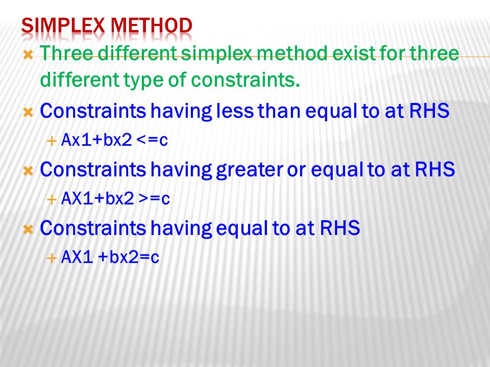 Constraints having less than equal to at RHS