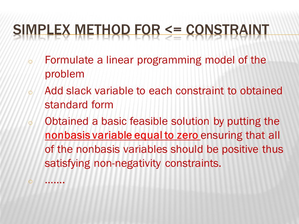 Simplex method for <= constraint