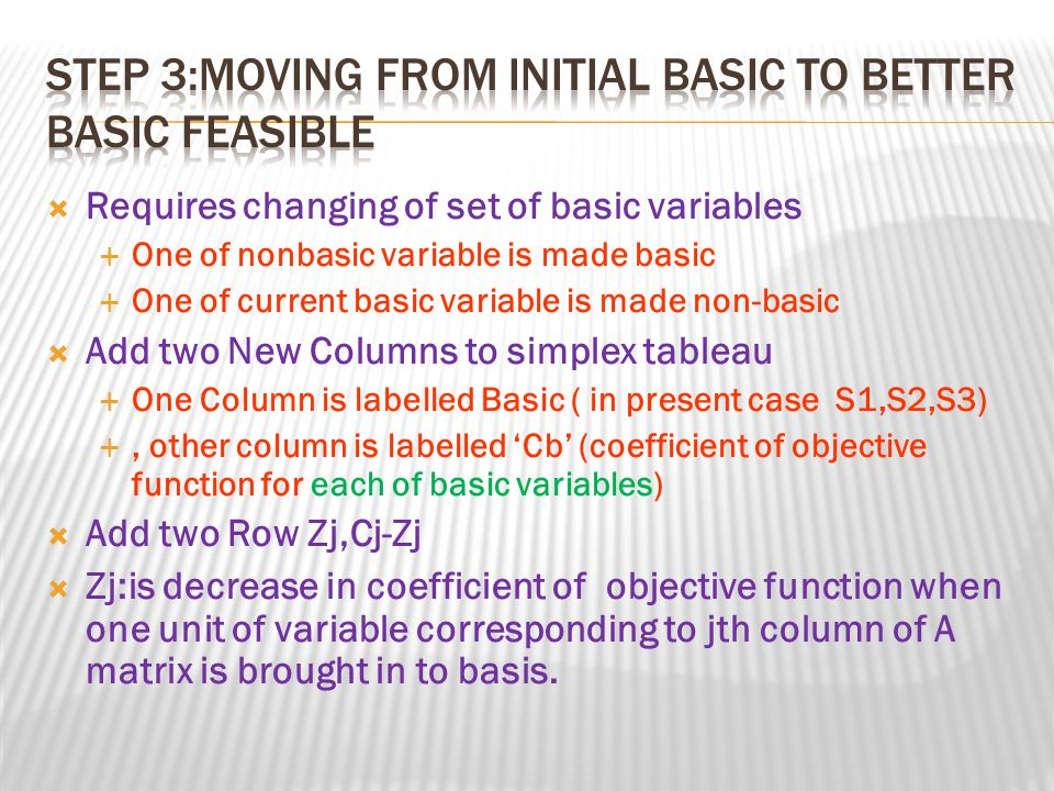 Step 3:Moving From Initial Basic to better basic Feasible