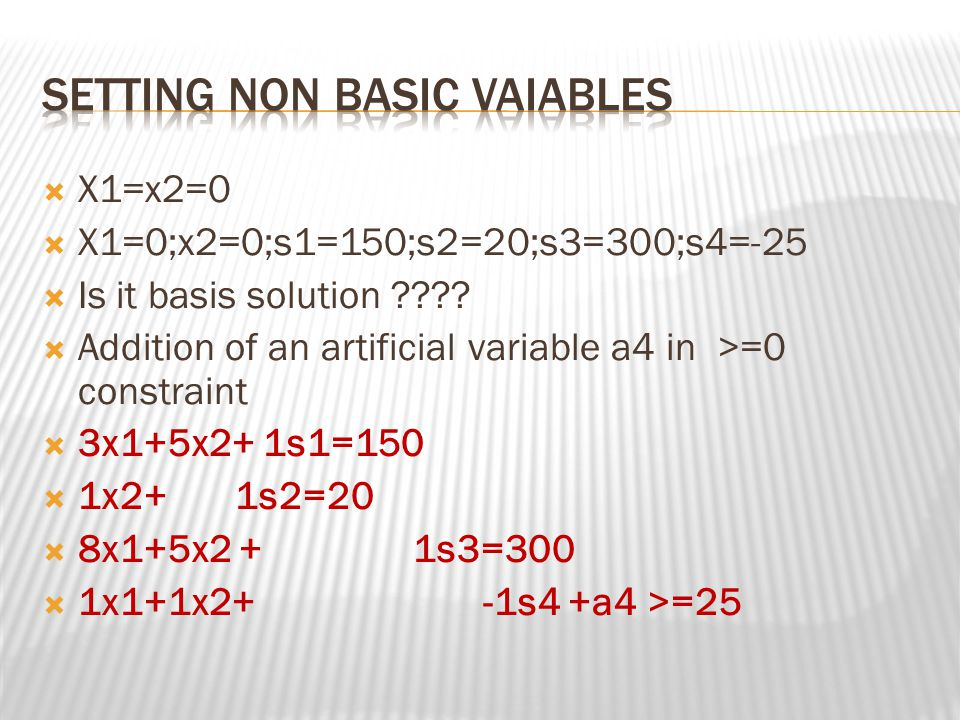 Setting non basic vaiables