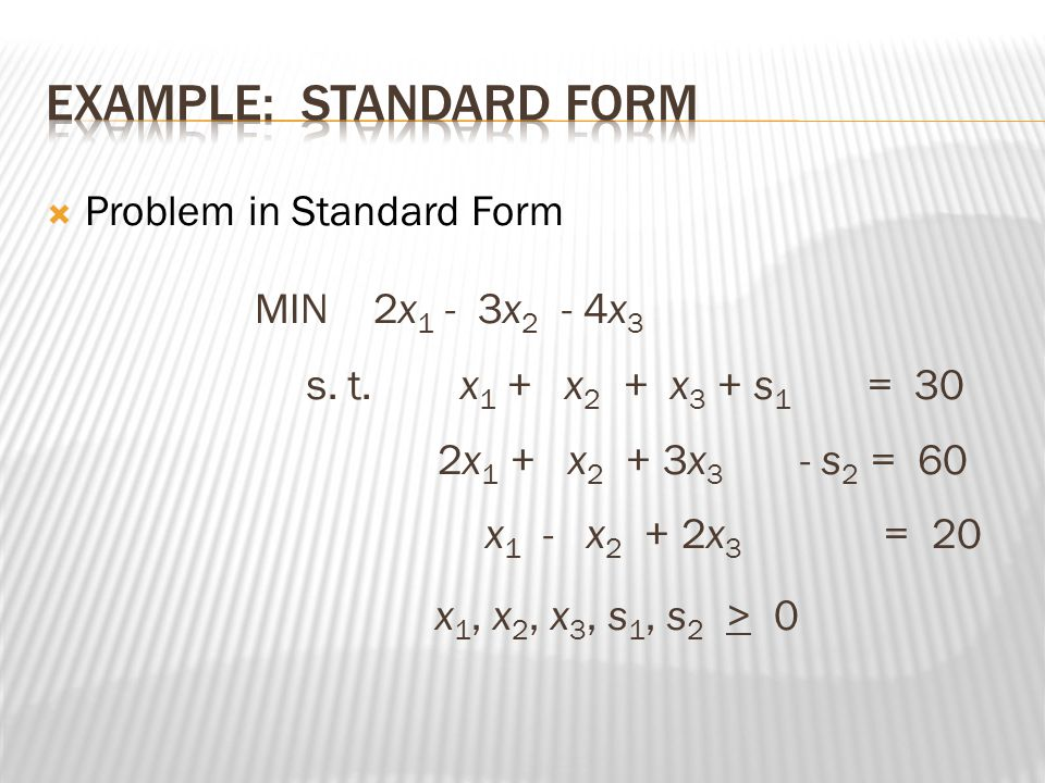 Example: Standard Form