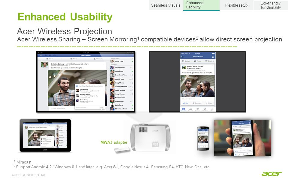 Seamless Visuals Eco-friendly. functionality. Enhanced usability. Flexible setup. Enhanced Usability.