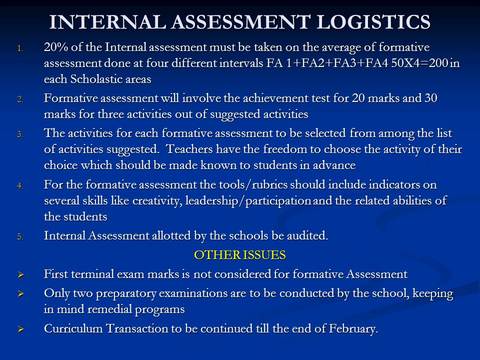 INTERNAL ASSESSMENT LOGISTICS