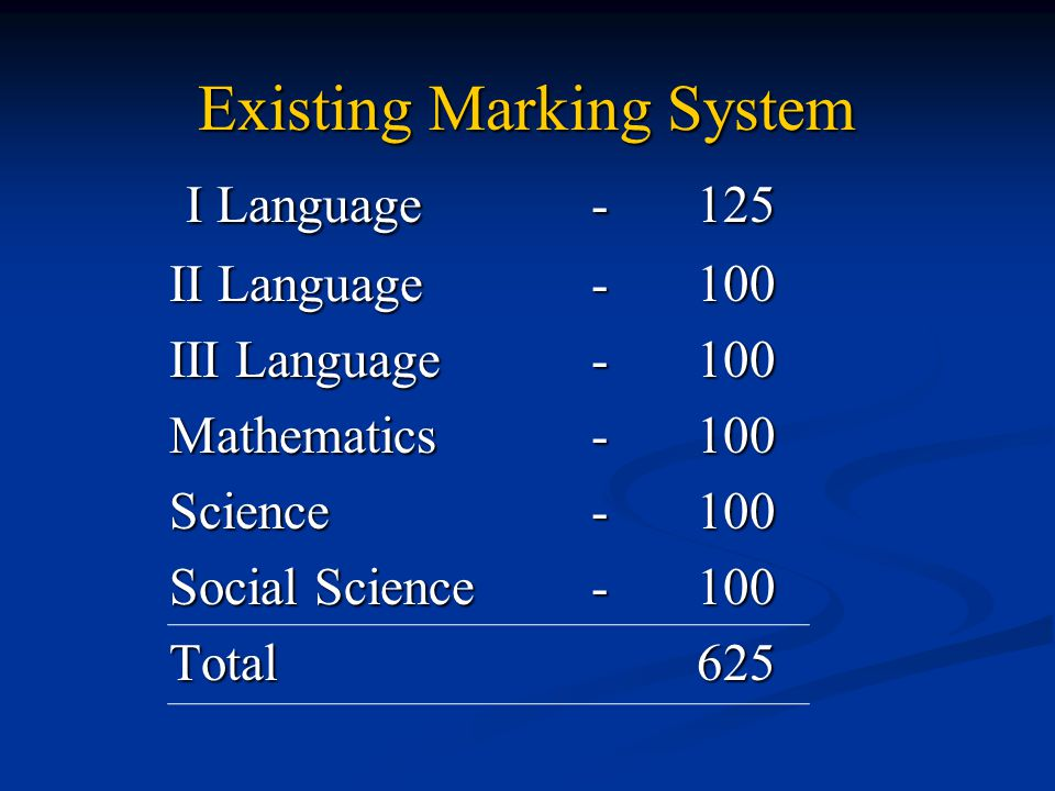 Existing Marking System