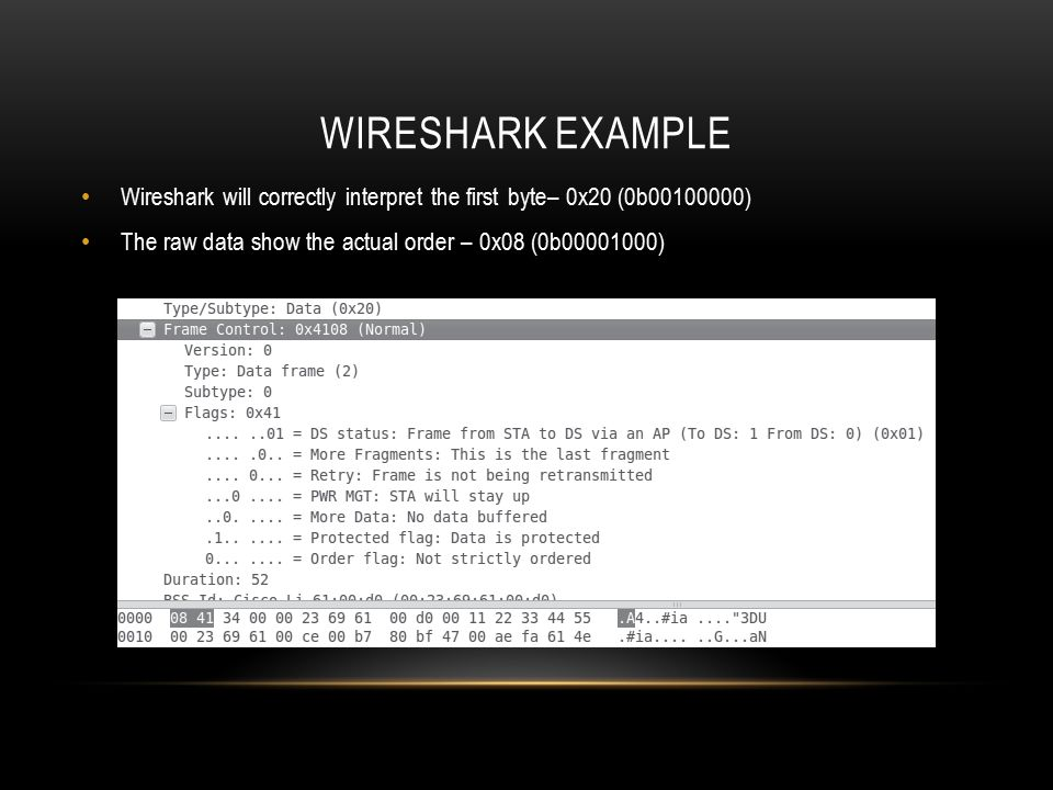 Wireshark example Wireshark will correctly interpret the first byte– 0x20 (0b00100000) The raw data show the actual order – 0x08 (0b00001000)